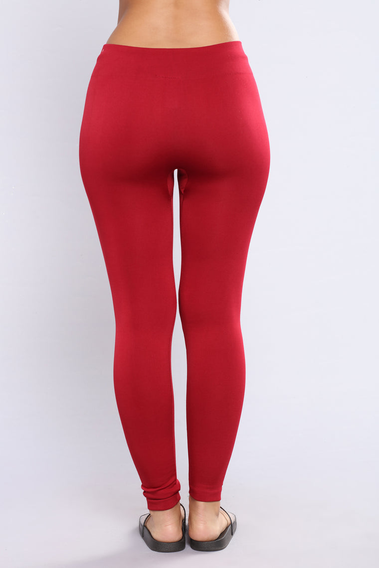 Yes Fleece III Leggings - Burgundy