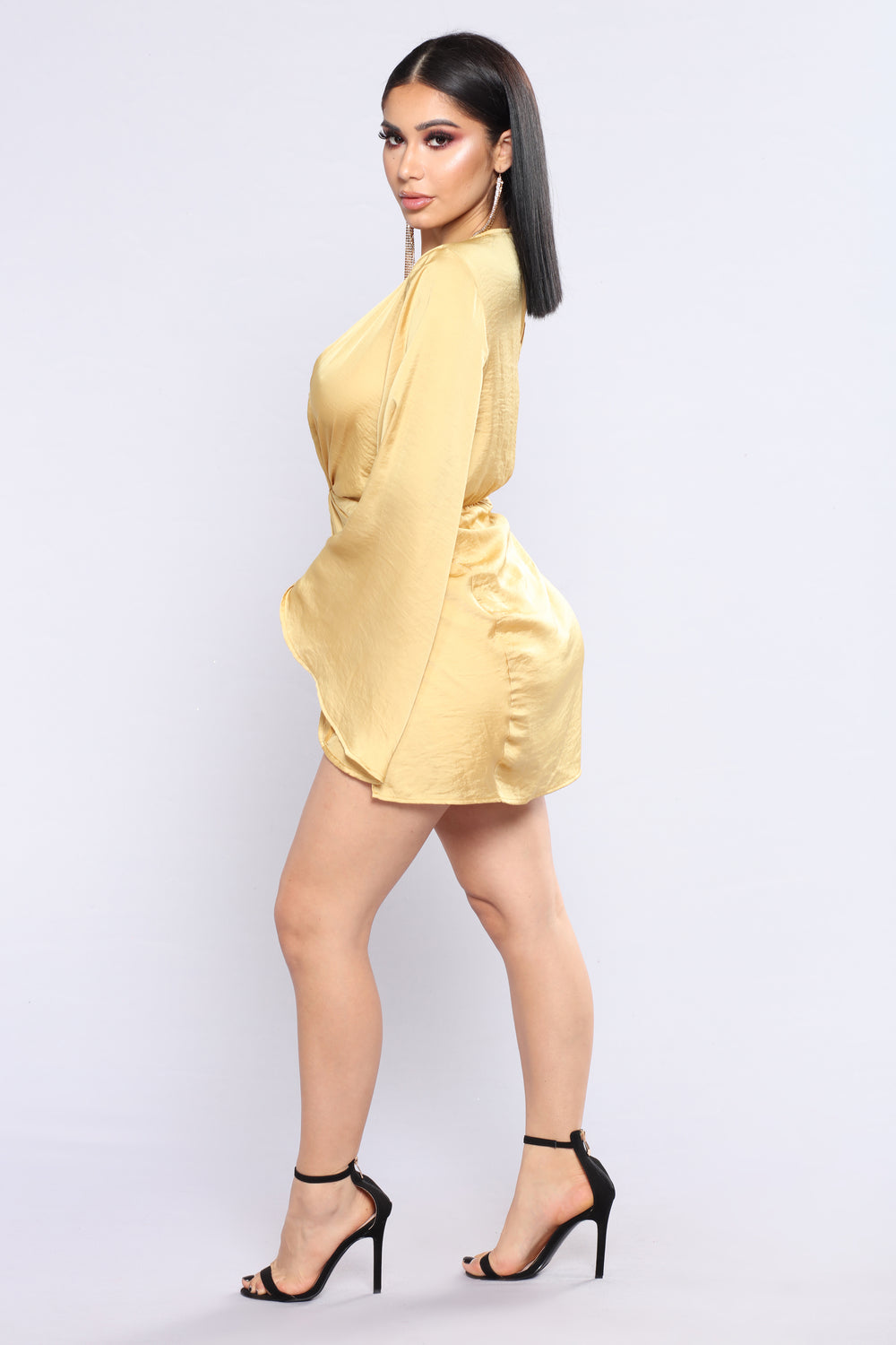 Sugar Land Satin Dress - Mustard