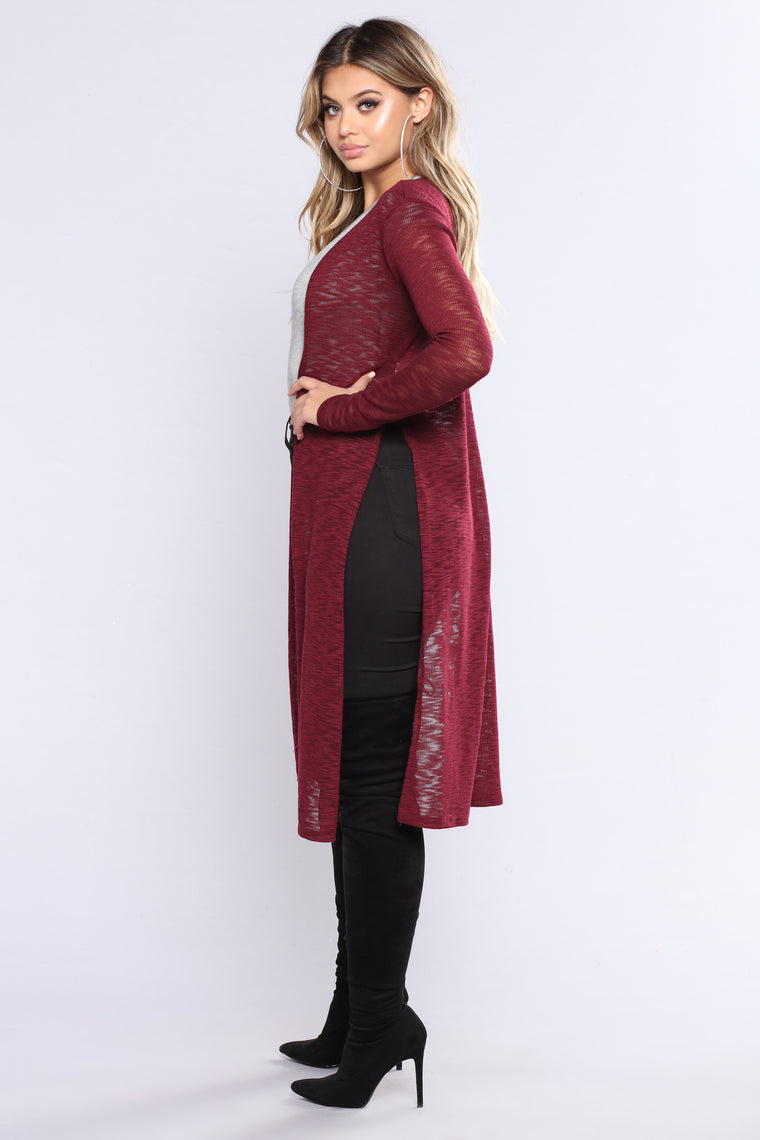 Happy Life Cardigan - Burgundy
