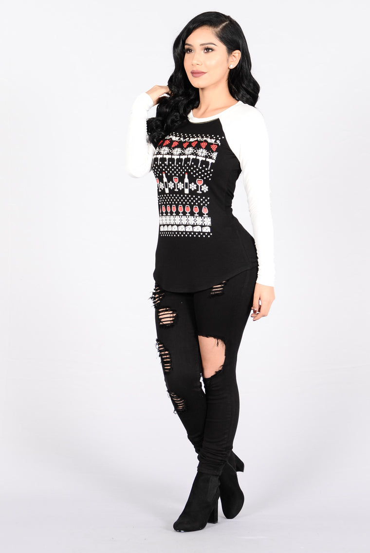 Drink And Be Merry Holiday Sweater - Black