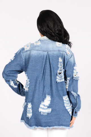 Destroyed And Conquered Denim Jacket - Medium Blue