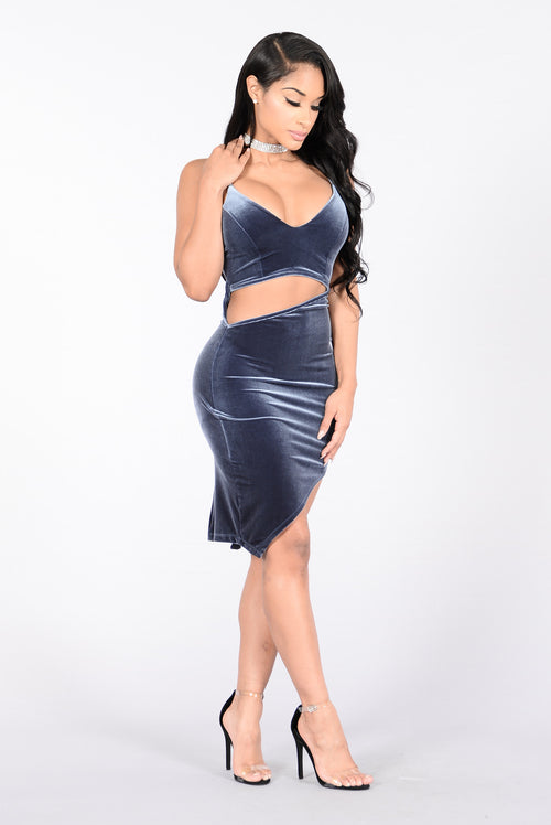 Velvet Dreams Dress - Blue Grey