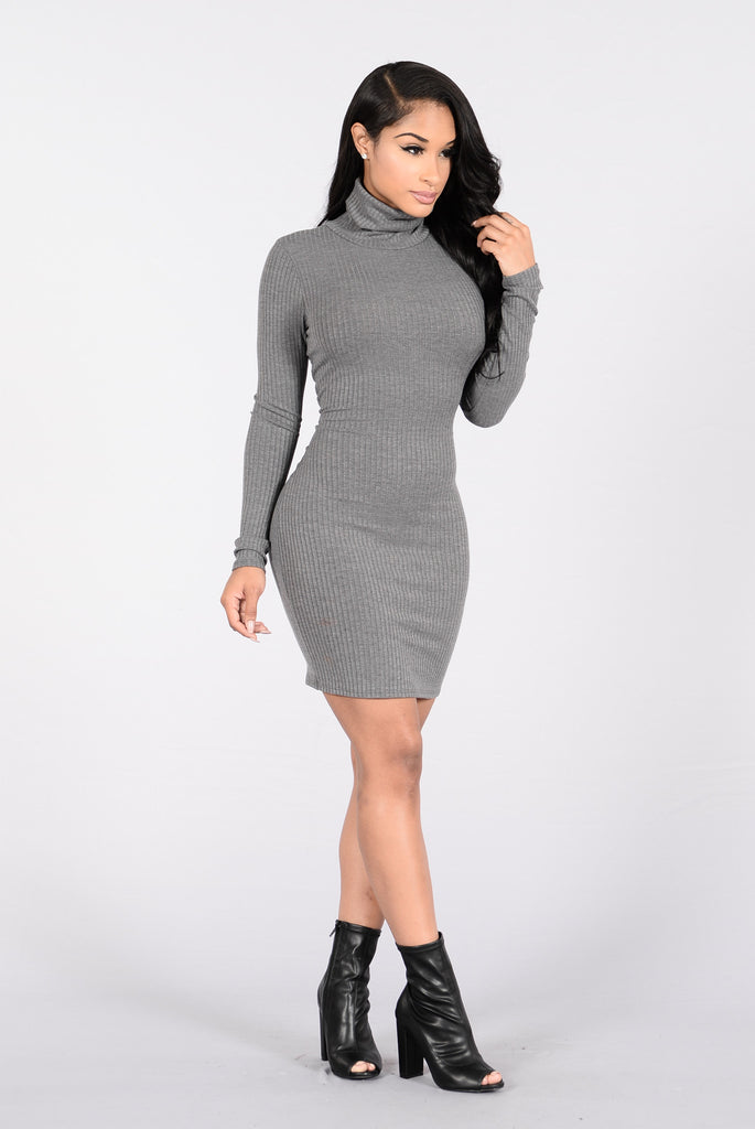 Winter Go To Dress - Charcoal