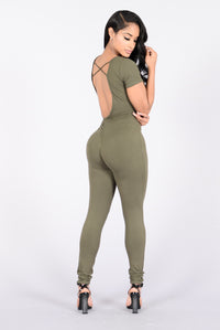 Cute But Taken Jumpsuit - Olive