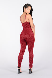 Feelin' Myself Jumpsuit - Burgundy