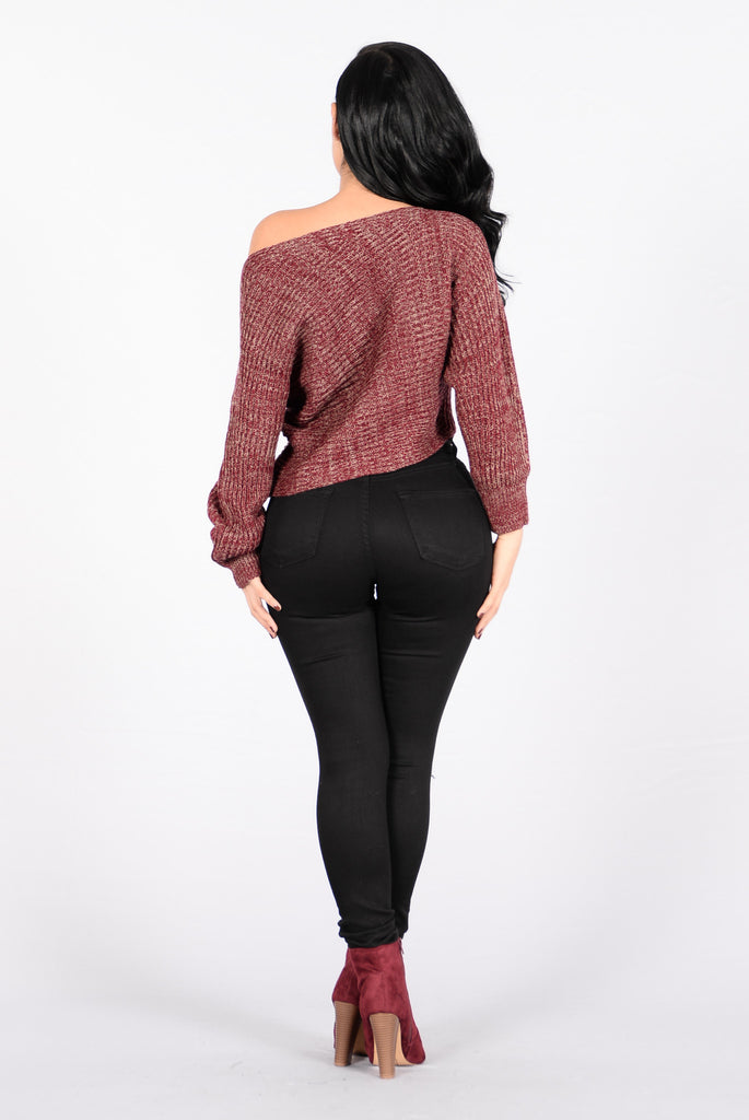 Off Balance Sweater - Heathered Burgundy