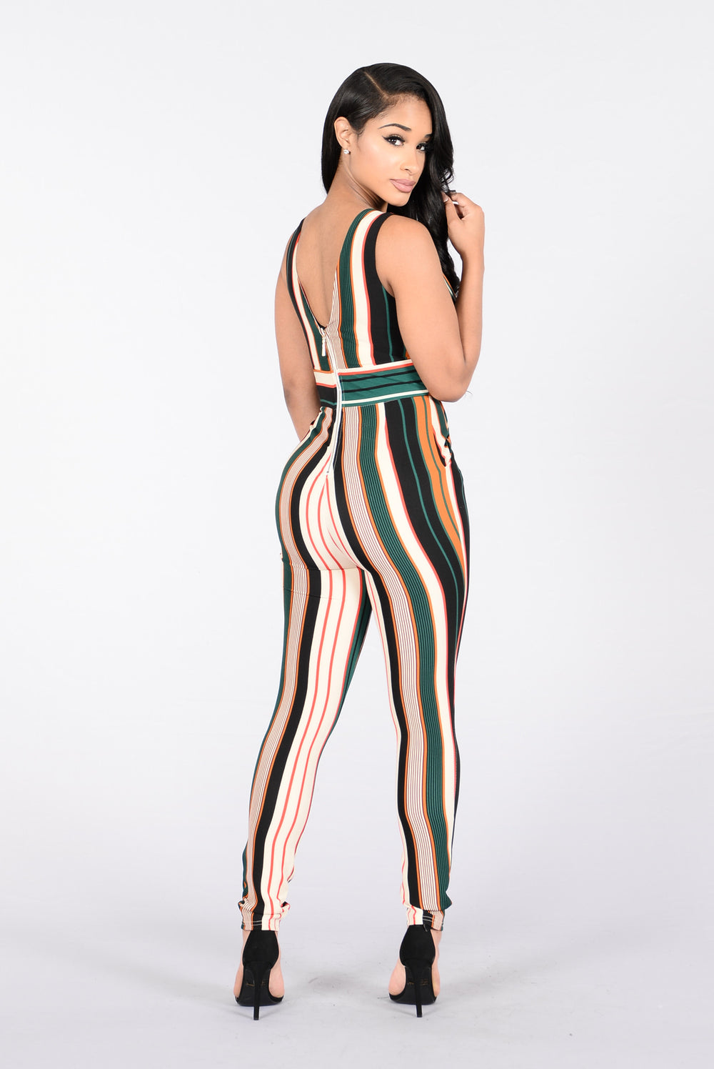 Within The Lines Jumpsuit - Black/Rust