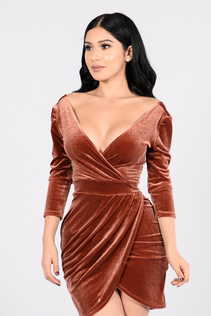 Staying Alive Dress - Rust Brown