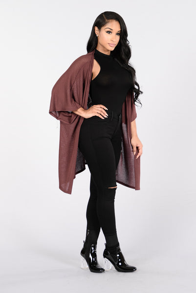 Too Much Time On My Hands Cardigan - Dark Mauve