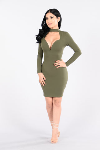 Make You Love Me Dress - Olive