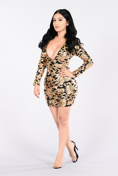 Spin Me Around Dress - Gold