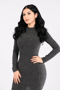 Love Myself Dress - Charcoal Angle 4
