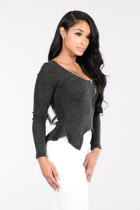 Hit With The Knit Top - Charcoal
