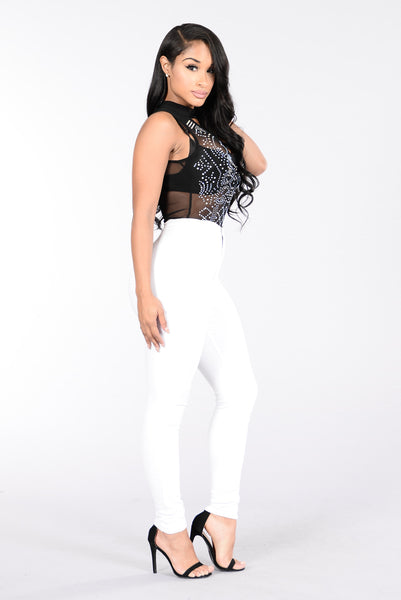 Studded Gem Bodysuit - Black