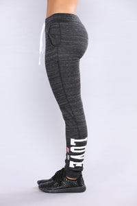 Crazy In Love Lounge Joggers - Marled Black