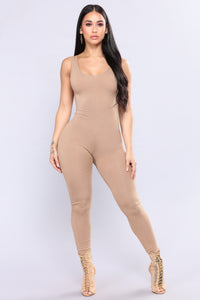 Need A Boost Jumpsuit - Taupe
