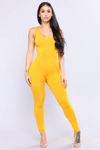 Need A Boost Jumpsuit - Mustard