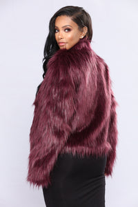 Fernanda Fur Coat - Burgundy