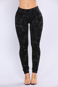 Rosette Flocked Leggings - Charcoal