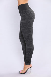Patricia Fleece Lined Leggings - Black/Grey