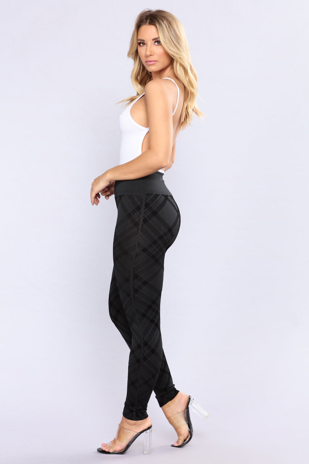 Plaid Fleece Lined Leggings - Black