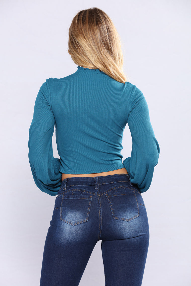 The Ruffle Effect Top - Teal