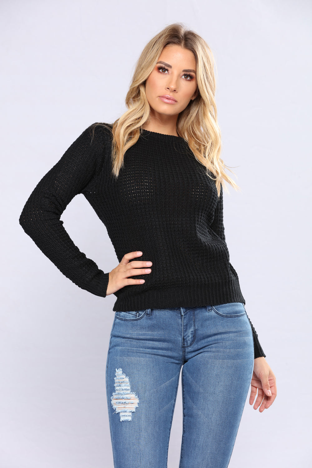 Solemate Caged Back Sweater - Black