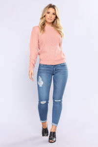 Soulmate Caged Back Sweater - Mauve