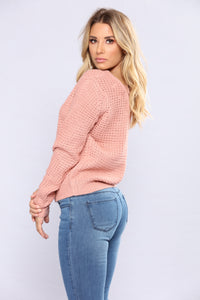 Soulmate Caged Back Sweater - Mauve Angle 4