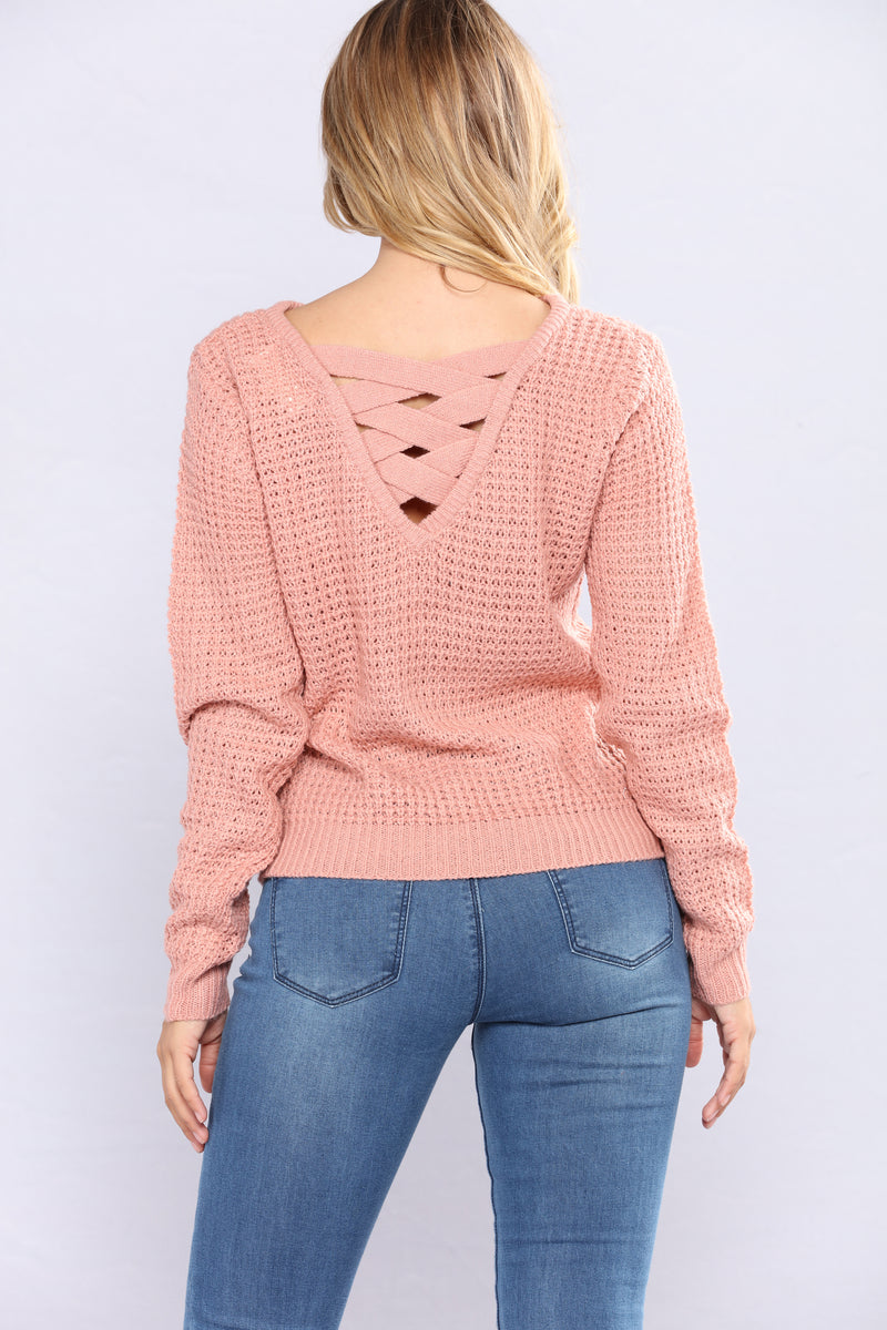 Solemate Caged Back Sweater - Mauve