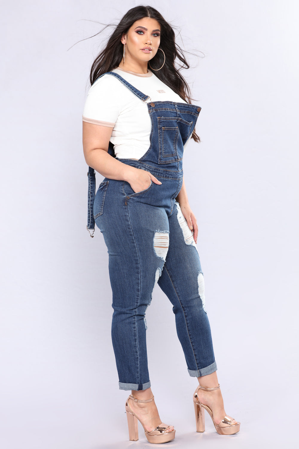 In A Rush Boyfriend Overalls - Medium Blue Wash
