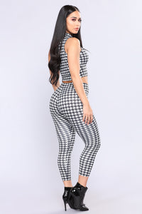 Lynette Houndstooth Pant Set - Black/White