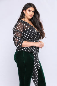 Lottie Dottle Bubble Sleeve Tops - Black/White Angle 4