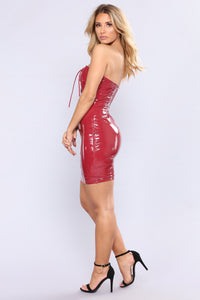 Devil In Disguise Latex Dress - Burgundy