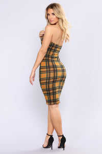 Irena Plaid Dress - Mustard