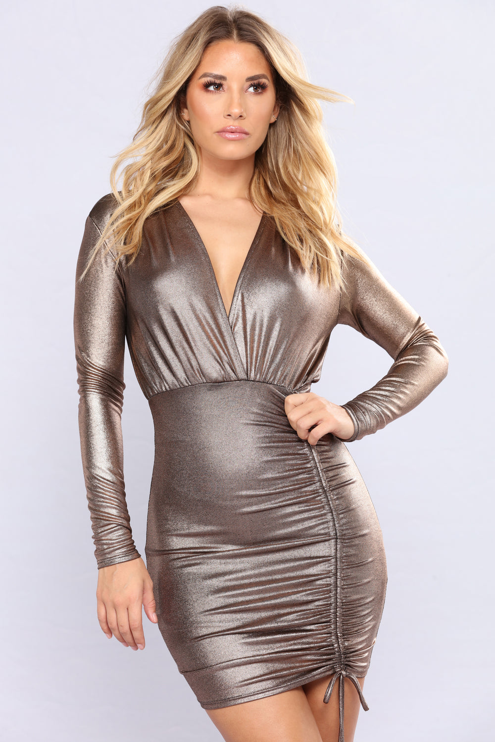Up In Space Metallic Dress - Gold