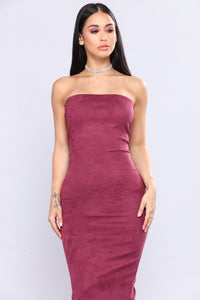 Little Thrills Suede Dress - Eggplant Angle 2
