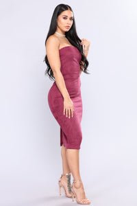 Little Thrills Suede Dress - Eggplant Angle 4