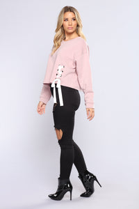 Lace Me Up Sweatshirt Top - Mauve