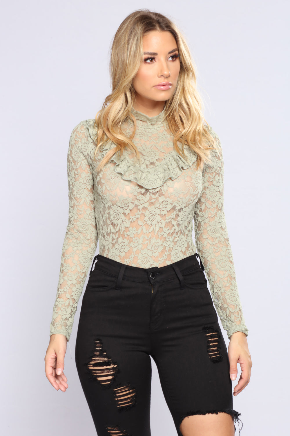 April Ruffle Lace Top - Sage