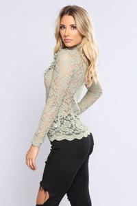 April Ruffle Lace Top - Sage Angle 4