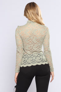 April Ruffle Lace Top - Sage Angle 3
