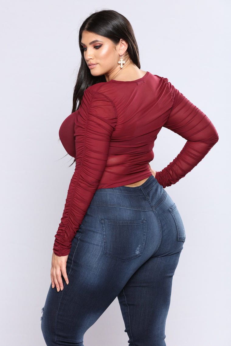 Ruched Up Top - Burgundy