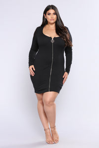Out Of Time Ribbed Dress - Black Angle 4