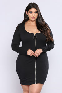 Out Of Time Ribbed Dress - Black Angle 5