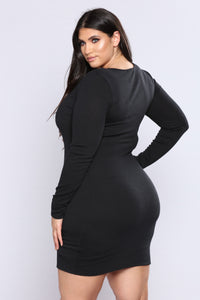 Out Of Time Ribbed Dress - Black Angle 6