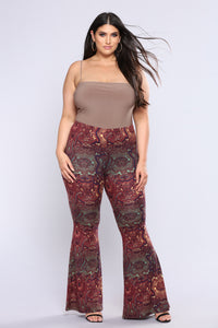 Stephanie Bell Bottom Printed Pants - Rust Multi Angle 7