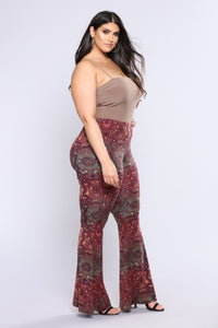 Stephanie Bell Bottom Printed Pants - Rust Multi Angle 11