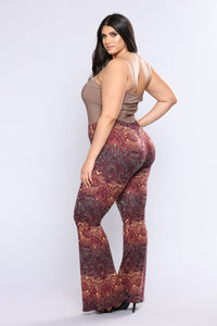 Stephanie Bell Bottom Printed Pants - Rust Multi Angle 12