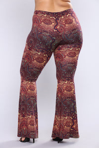 Stephanie Bell Bottom Printed Pants - Rust Multi Angle 9